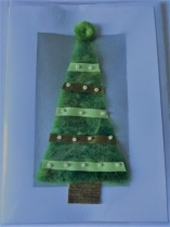 Felted Christmas card green ribbon
